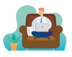 homem trabalhando em casa com laptop no sofá vetor