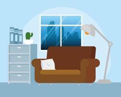 sala de estar casa com sofá vetor