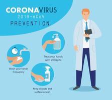 médico masculino para prevenção de coronavírus