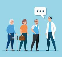 idosos conversando com um médico