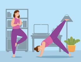 mulheres se exercitando em casa