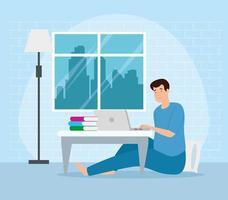 campanha fique em casa com homem trabalhando de casa