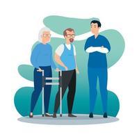 casal de idosos conversando com um paramédico vetor