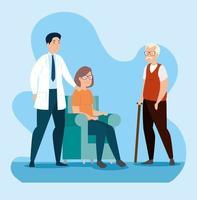 casal de idosos na sala de espera com médico vetor