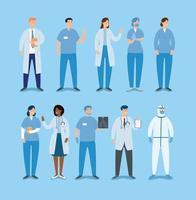 conjunto de médicos e paramédicos