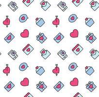 padrões de dia dos namorados sem costura com corações e o símbolo dos namorados. usado para têxteis, tecidos, plano de fundo.