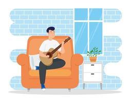 campanha fica em casa com o homem na sala tocando violão