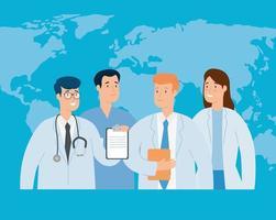 grupo de médicos com mapa mundial