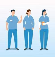 grupo de personagens de avatar paramédicos