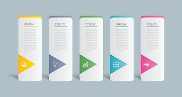 5 design de modelo de índice de guia de infográficos de dados. ilustração vetorial fundo abstrato. pode ser usado para layout de fluxo de trabalho, etapa de negócios, banner, design de web.