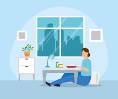campanha fique em casa com mulher trabalhando em casa
