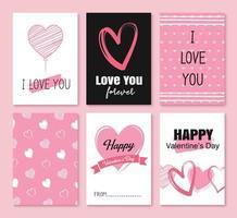 cartões de dia dos namorados com corações e decoração de símbolo para convite, panfleto, cartazes, tag, banner.