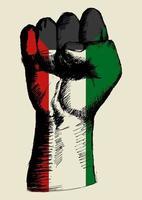 esboçar a ilustração de um punho com a insígnia kuwait. espírito de uma nação
