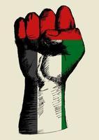 esboçar a ilustração de um punho com a insígnia dos Emirados Árabes Unidos. espírito de uma nação
