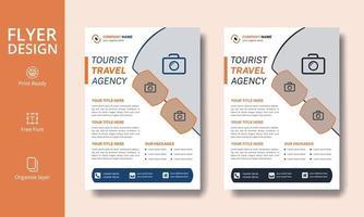 folheto moderno criativo em laranja e preto para agências de viagens turísticas vetor