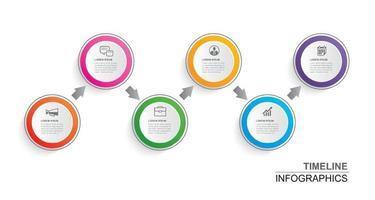 papel de círculo de cronograma de infográficos com modelo de 6 dados. ilustração vetorial fundo abstrato. pode ser usado para layout de fluxo de trabalho, etapa de negócios, brochura, folhetos, banner, web design. vetor