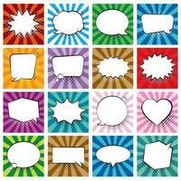 conjunto de balões de fala em quadrinhos sobre fundo colorido e sombras de meio-tom. vetor