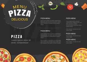 modelo de menu de pizza para restaurante e café. design para folheto, brochura. vetor