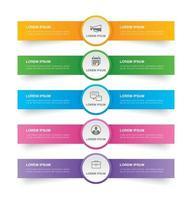 guia infográficos no índice de papel horizontal com 5 modelos de dados. ilustração vetorial fundo abstrato. pode ser usado para layout de fluxo de trabalho, etapa de negócios, banner, design de web.