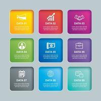 índice de papel do retângulo de infográficos com modelo de 9 dados. ilustração vetorial fundo abstrato. pode ser usado para layout de fluxo de trabalho, etapa de negócios, banner, design de web. vetor