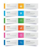 guia infográficos no índice de papel horizontal com 6 modelos de dados. ilustração vetorial fundo abstrato. pode ser usado para layout de fluxo de trabalho, etapa de negócios, banner, design de web.