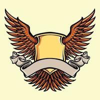 asa escudo escudo com fita vetor
