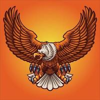 ilustração vetorial de águia forte mascote vetor