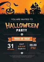 modelo de cartaz de festa de convite de halloween. uso para cartão de felicitações, panfleto, banner, cartaz, ilustração vetorial.