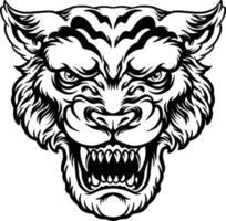 ilustração de cabeça de tigre zangado