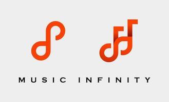 ilustração em vetor design de logotipo de música infinita