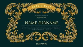 certificado elegante com design vintage redemoinhos vetor