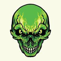ilustração de caveira verde com raiva vetor