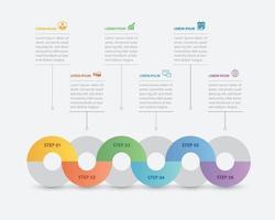 Infográfico de 6 círculos com modelo de cronograma abstrato. apresentação passo negócios moderno fundo. vetor