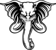 ilustração de cabeça de elefante zangado mascote vetor