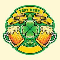 dois copos de cerveja, brindes com o emblema do dia de São Patrício vetor