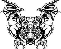 ilustração de ataque de dragão zangado vetor