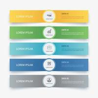5 dados infográficos guia modelo de índice de papel. ilustração vetorial fundo abstrato. pode ser usado para layout de fluxo de trabalho, etapa de negócios, banner, design de web.