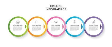Infográfico de 5 círculos com modelo de cronograma abstrato. apresentação passo negócios moderno fundo.