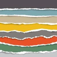 um conjunto de pedaços de papel rasgado em várias cores. use como fundo e para adicionar texto a todos os designs. vetor