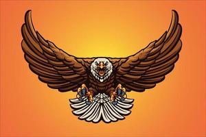 ilustração em vetor mascote águia voadora
