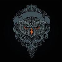 cabeça coruja mística com ilustração de ornamentos vetor
