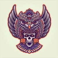 ilustração de caveira mística de coruja vetor