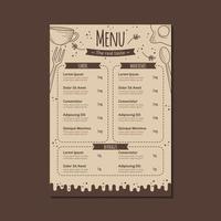 modelo de menu de restaurante em marrom com estilo desenhado à mão vetor