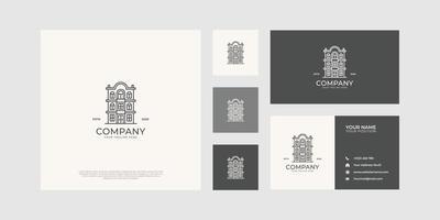 logotipo de edifício residencial com cartão de visita. vetor