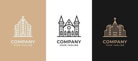 design de logotipo de edifício minimalista criativo com arte de linha de conceito. vetor