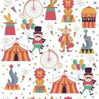 padrão sem emenda com personagens de desenhos animados de circo em fundo branco. ilustração vetorial. vetor