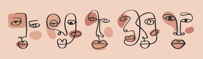 faces de desenho contínuas abstratas de uma linha. arte minimalista, contorno estético. retrato tribal do casal de linha contínua. ilustração vetorial moderna em estilo étnico com fundo nude