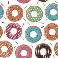 padrão sem emenda com donuts coloridos sobre fundo branco. ilustração vetorial. vetor
