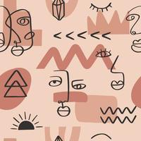 desenho contínuo de uma linha abstrata enfrenta padrão sem emenda. arte minimalista, contorno estético. retrato tribal do casal de linha contínua. ilustração vetorial moderna em estilo étnico vetor