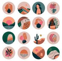 destaca capa, posts e histórias para mídias sociais. ícones contemporâneos de beleza boho. formas desenhadas à mão estilo doodle vetor